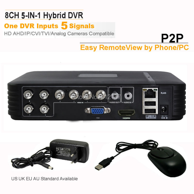 CCTV Security 8CH H.264 Standalone AHD DVR CVI TVI HD IP Analog 5-in-1 Hybrid Surveillance Video Recorder Motion Detection P2P 8ch ahd 960h d1 recording cctv standalone hybrid dvr recorder 8ch 700tvl color cmos ir weatherproof indoor dome cameras