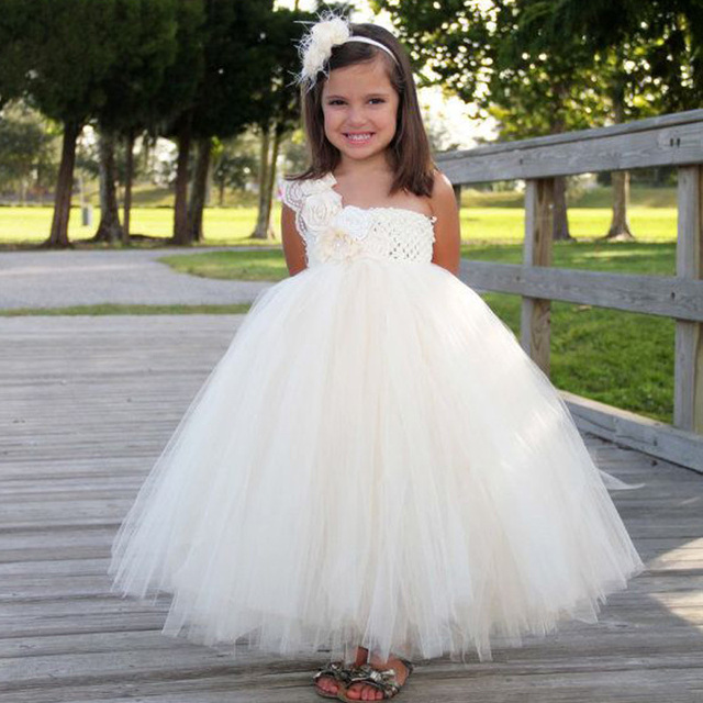 65d3c308588eb Flower Girl Dress Pageant 2017 White Tutu Ball Gown Kids One Shouder Floor  Length Weddings First