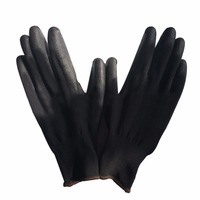 12 Pairs M L XL Black Nylon PU Coated Work Gloves Safety Coating Garden Gloves Breathable