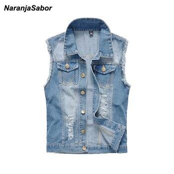 e70036aba75 NaranjaSabor для мужчин s брендовая одежда 2019 Весна джинсовые жилеты  рваные без рукавов джинсы для женщин пальто мужской жилет