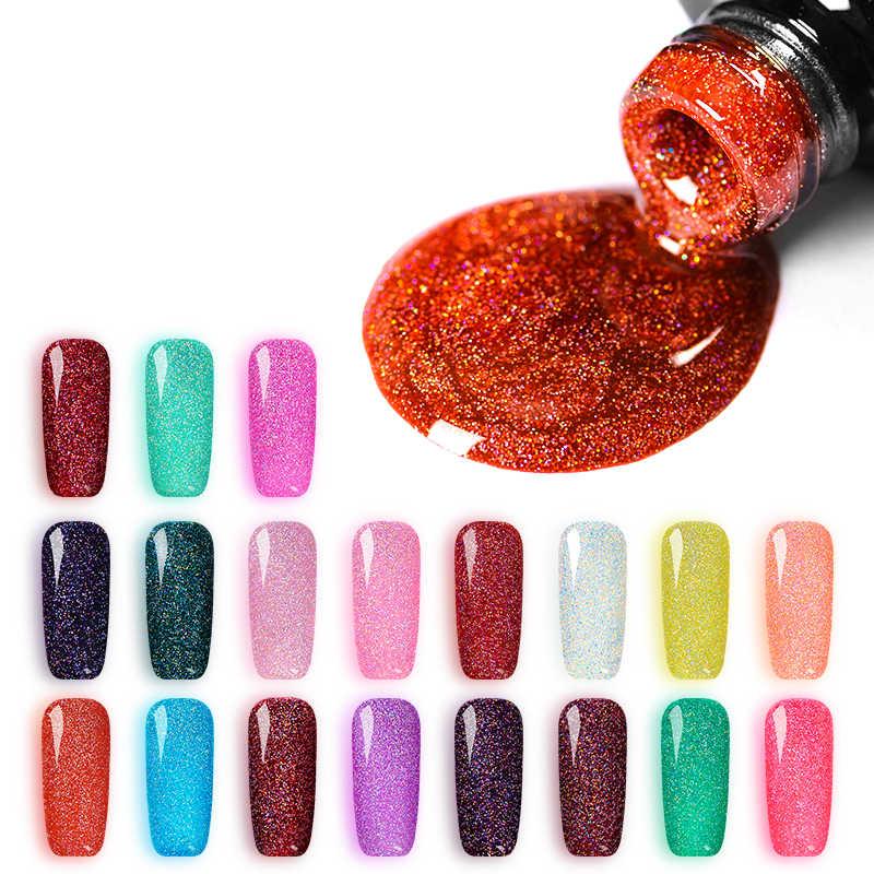 Mtssii 7 Ml Holographic Kerlap-kerlip Kuku Gel Set Glitter Platinum Lukisan Kuku Seni Poly UV Gellak Dasar Atas Primer untuk manicuret