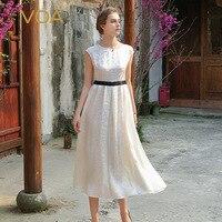 VOA black and white stitching silk dress bag sleeve white jacquard silk dresses up A6577