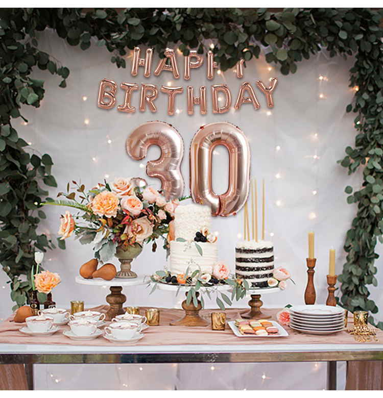 Happy 30th Birthday Decorations Rose Gold Balloons 30 Decor Years Party Adult Supplies