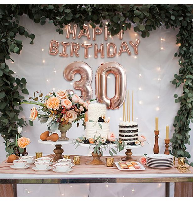 Happy 30th Birthday Decorations Rose Gold Balloons 30 Decor Years Party