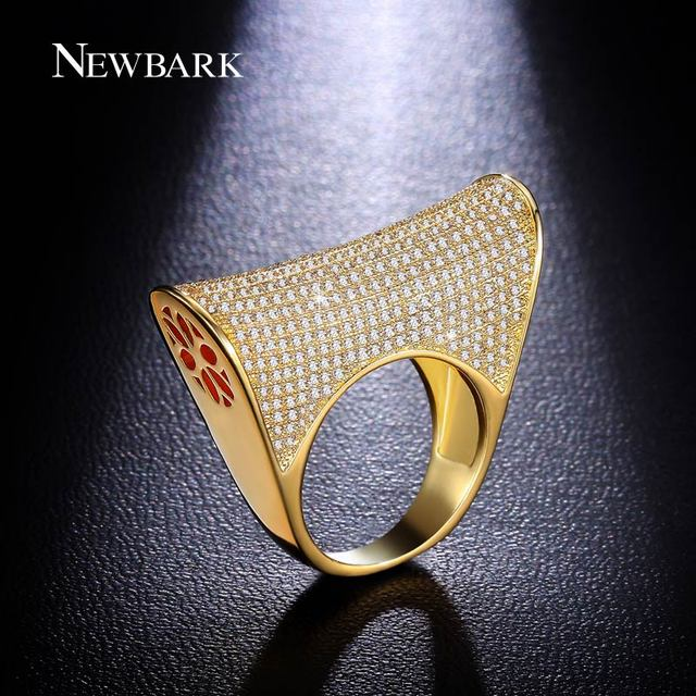 NEWBARK Glimmering Saddle Ring Yellow Gold Plated Handcraft AAA Cubic Zirconia Bling Fashion Cocktail Jewelry Rings