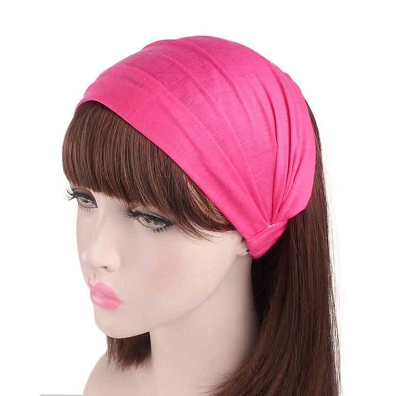 Haimeikang Wholesale new autumn red rose diamante Solid color Turban Head Wraps Hijab Head Scarf bandanas for women