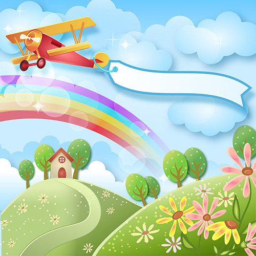White Clouds Rainbow Plane Flower Tree Country Cottage backdrop Vinyl cloth Computer printed wall Backgrounds