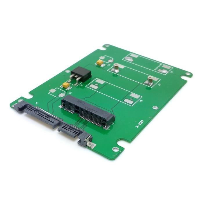 50pcs/lots 50mm mini PCI-E mSATA SSD to 7mm 2.5 SATA 22pin hard disk case Enclosure White шасси orient uhd 2msc12 для ssd msata для установки в sata отсек оптического привода ноутбука 12 7 мм 30345