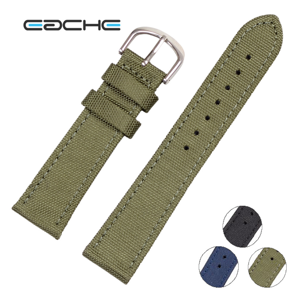 Eache New Arrival Genuine Leather Nylon Watchband 18mm 20mm 22mm 24mm Army Green Blue Black Color Watch Strap In Stock eache 20mm 22mm 24mm 26mm genuine leather watch band crazy horse leather strap for p watch hand made with black buckles