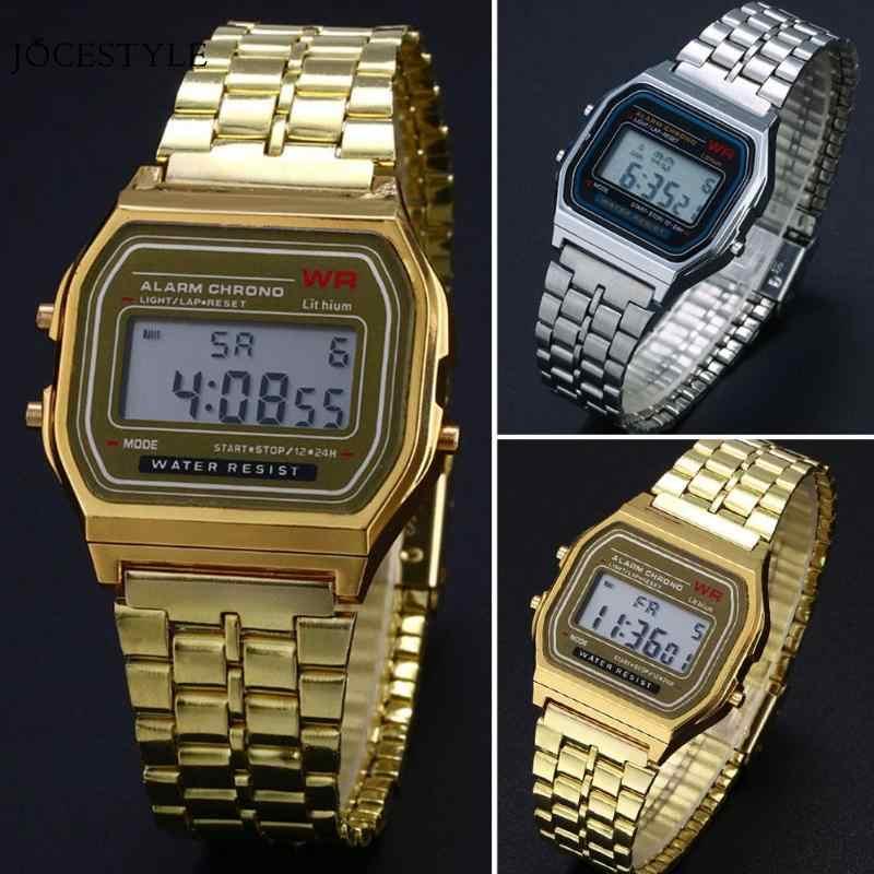 Watch Men Business Golden Gold Couple Watch Watch Stainless Steel Digital Clock relogio feminino Vintage Women Watches Men