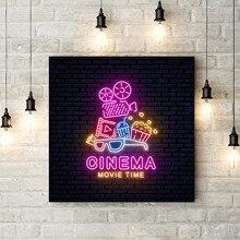 Sinal de néon brilhante cartaz do cinema arte da parede pintura em tela cinema tempo de filme pipoca imagem da parede impressão de cinema em casa arte decoração