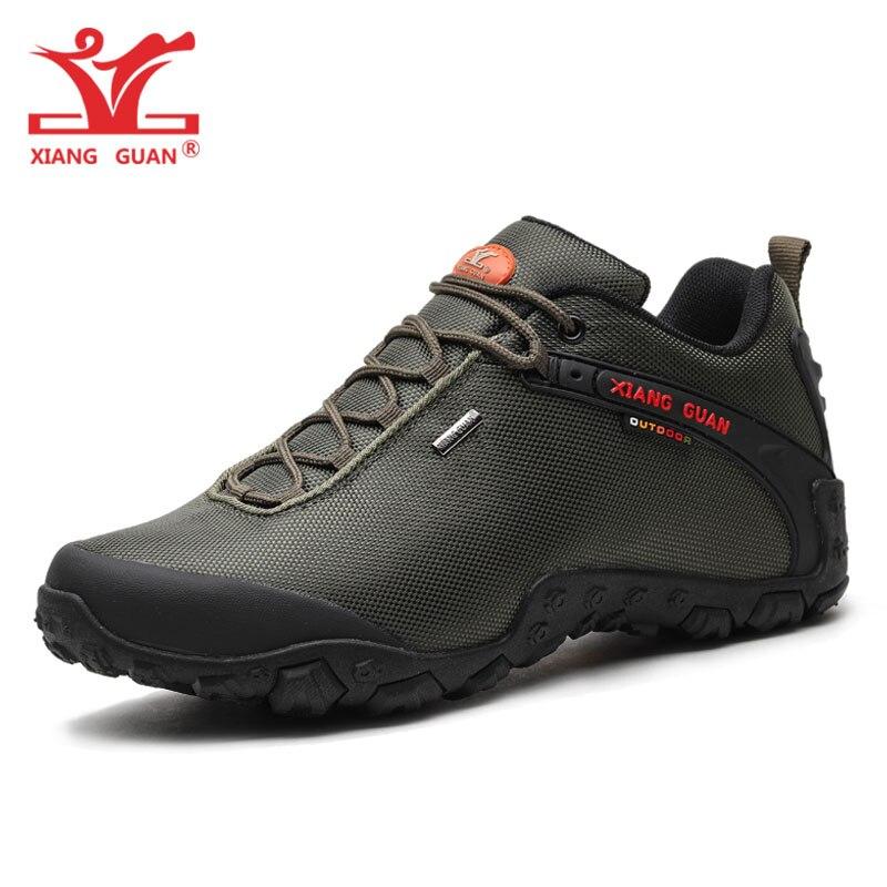 XIANG GUAN Man Hiking Shoes Men Army Green Trekking Boots Breathable Outdoor Sports Camping Climbing Mountain