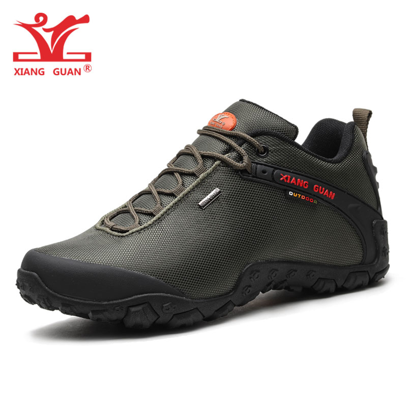 XIANG GUAN Man Hiking Shoes Men Waterproof Trekking Boots Green Breathable Sport Mountain Climbing Shoe Outdoor Walking Sneakers цена