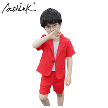 ActhInK 2019 New 2Pcs Boys Solid Suit Summer Linen Blazer Baby Wedding Cotton Clothing Set