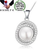 OMHXFC Wholesale European Fashion Woman Girl Party Birthday Crossed Pearl AAA Zircon 100% 925 Sterling Silver Pendant Charm PD86