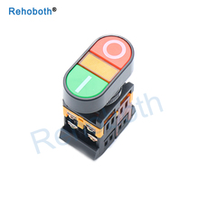 цена на 22mm/25mm 220V AC ON/OFF START STOP 1 NO NC 2 buttons 22N Momentary double head Push Button Switch With LED
