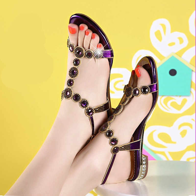 dc4567bd2bee4b 2019 Beautiful ladies rhinestone sandals summer low heel flat sexy large  size beach shoes crystal shoes