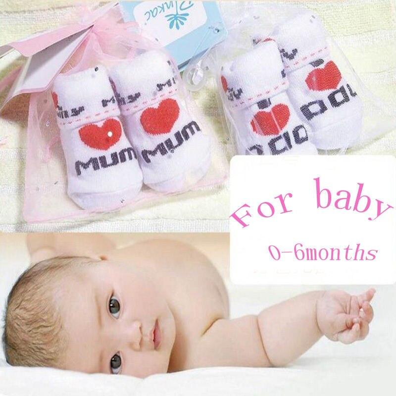 Newborn Girls Soft Love Mom//Dad Cotton Socks 0~6 Months Baby Socks Toddler