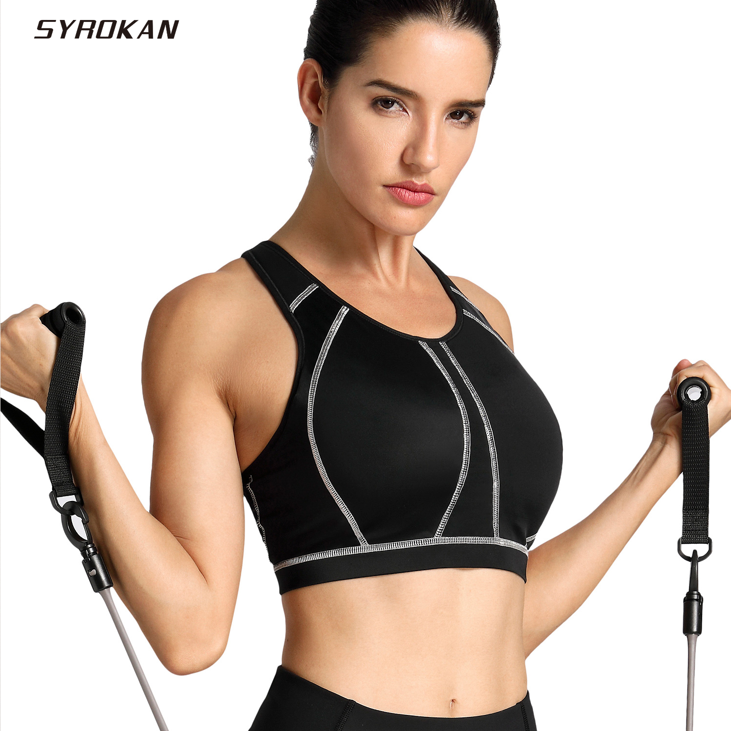 SYROKAN Women's medium impact Full Coverage Molded Cup Wire Free Sports Bra