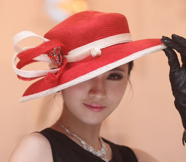 Fashion New Kentucky Derby Wedding Floppy Ribbon Geometric Wide Brim Women's Summer Straw Hat Red White Yellow
