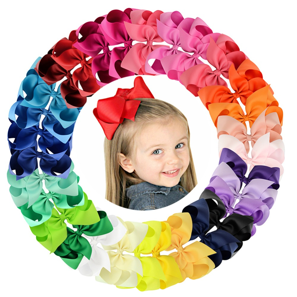 6 Inch 30Pcs/lot Colorful Big Kids Girls Solid Ribbon Hair Bow Clips With Large Hairpins Boutique Hairclips Hair Accessories588