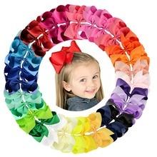 Lot de Clips à cheveux colorés pour filles, 6 pouces, 30 pièces/lot, rubans solides, avec nœuds, grandes épingles à cheveux, Boutique, accessoires pour cheveux