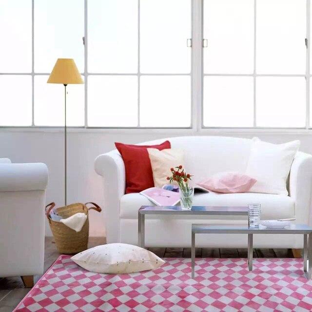 Rosa Kariertes Teppich Morden Mode Fußmatten Boden Teppich Große  Quadratische Fläche Teppiche Für Schlafzimmer Rosa Teppiche