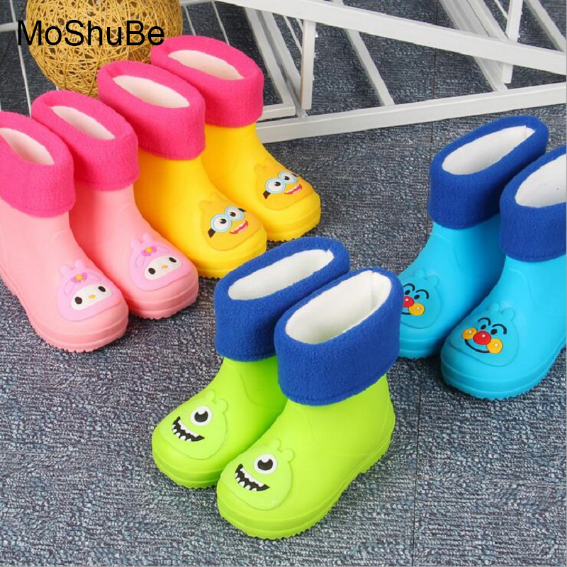 Children Winter Keep Warm Snow/Rain Boots Soft PVC Cotton Neri Cartoon Animal Patterns Rain Shoes For Kids Boys Girls Snowboots