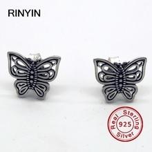 925 Pendientes De Plata de Joyería de Moda Auténtica Marca Europea Calado Mariposa Stud Pendientes
