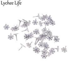 Lychee жизни, 50 шт в наборе, sonwflake штифтики для скрапбукинга металлическое украшение крепежа брадсы Изделия из металла для обуви 14x12 мм