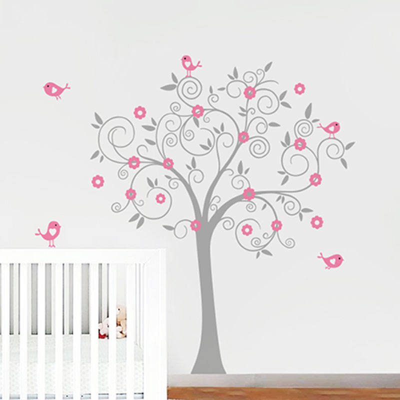 birds flowers vinilo del arte del rbol etiqueta de la pared tatuajes de mural wallpaper nursery with vinilo habitacion nia