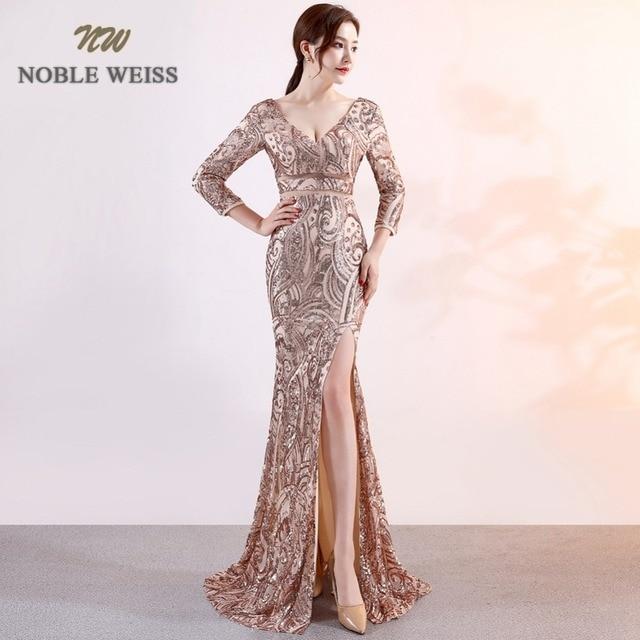 Prom dresses 2019 lungo sexy della sirena vestito da promenade vestidos de fiesta largos con scollo a v backless fessura del lato paillettes abiti da sera