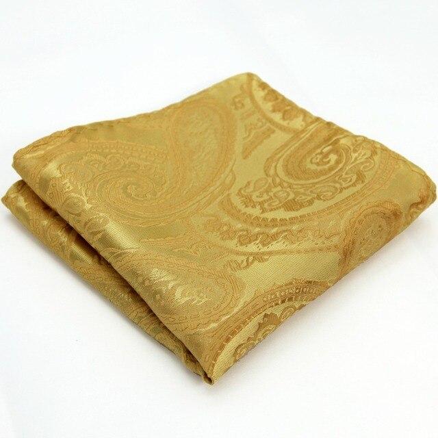 Gold Silk Paisley Pattern Pocket Square