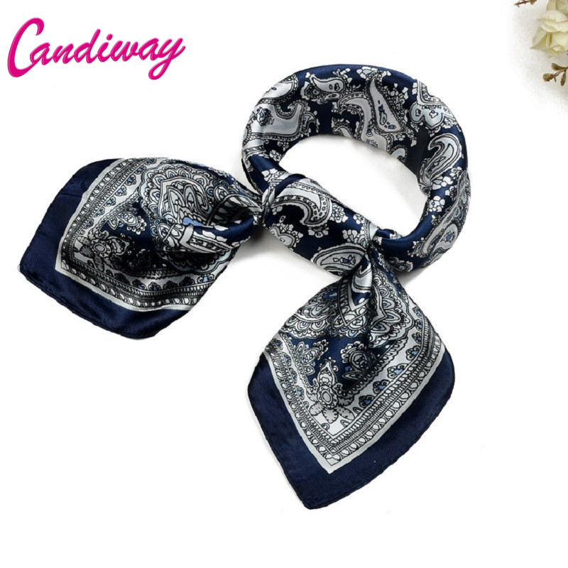Candiway Hot Sale Ny Fashion Woman Liten Silk Scarf Square Scarves Kvinner Wraps Vinter Høst Ladies Shawls Bandana Hijab 60cm