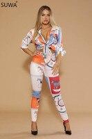 Новое предложение двух частей комбинезон женщины в народном стиле рубашка с принтом + брюки комбинезоны для женщин Pattern сексуальное тело бо...