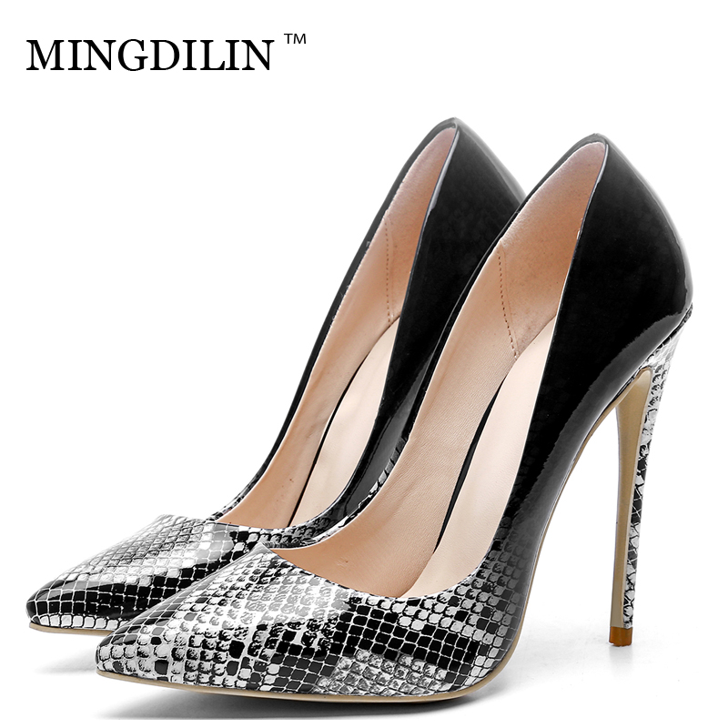 MINGDILIN Sexy Women's High Heels Shoes Plus Size 33 43 Denim Woman Shoes Blue Red Pointed Toe Wedding Party Pumps Stiletto 2018