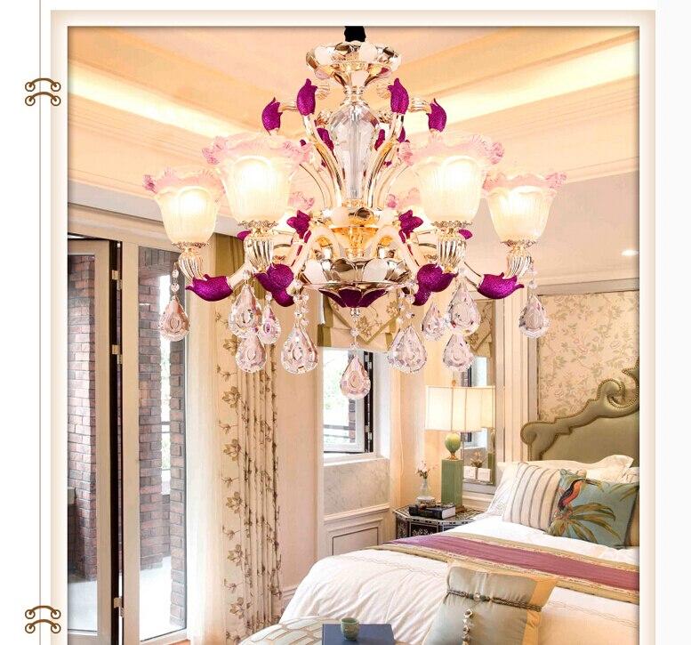 Modern Decoration Purple Alloy Crystal Chandelier Lingting 6L/8L/10L K9 Crystal Lamp Lustre AC 100% Guaranteed Free Shipping