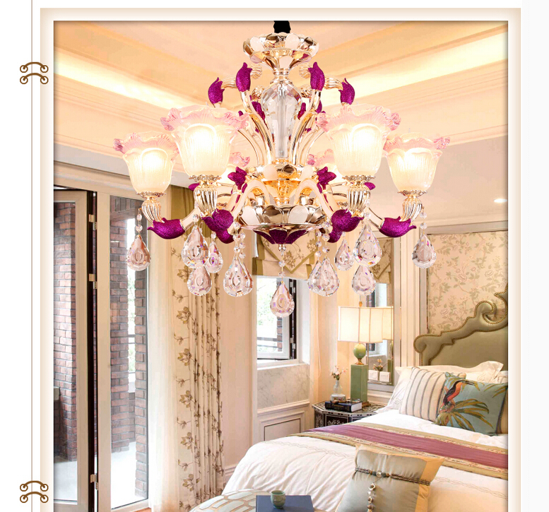 Modern Decoration Purple Alloy Crystal Chandelier Lingting 6L/8L/10L  K9 Crystal Lamp Lustre AC 100% Guaranteed Free Shipping