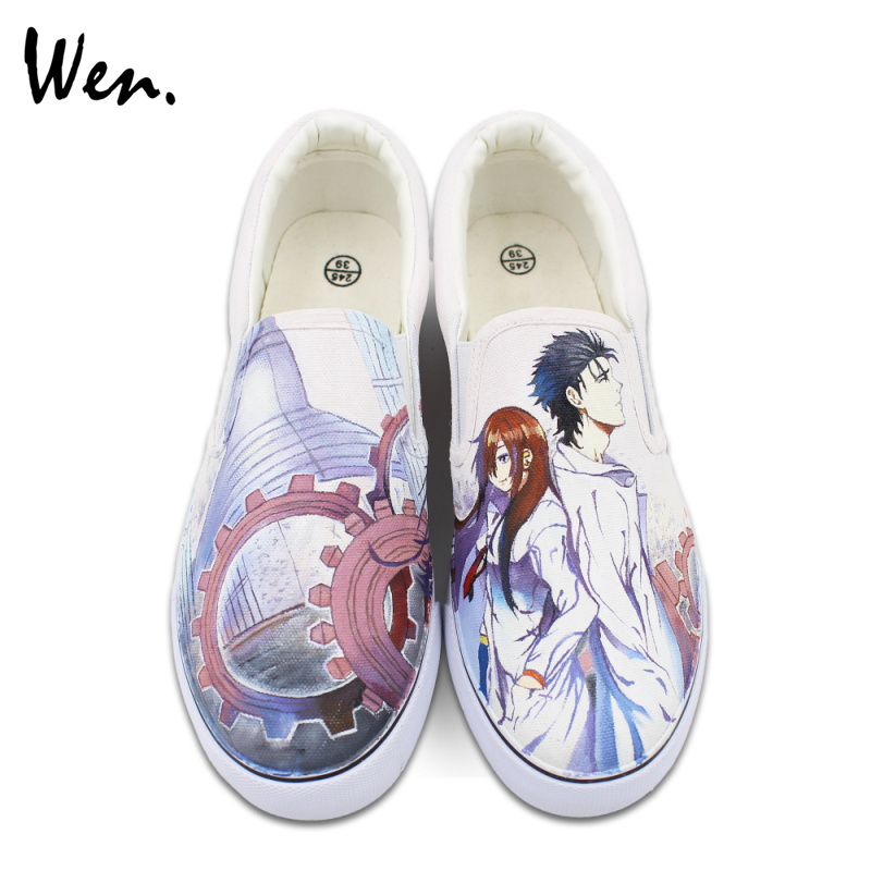 Wen Custom Design Hand Painted Shoes Slip on Style Anime STEINS;GATE Canvas Sneakers for Man Woman Gifts ноутбук dell vostro 5568 5568 9975 5568 9975