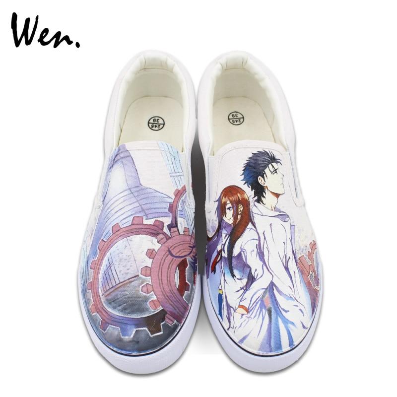 Prix pour Wen Custom Design Peint À La Main Chaussures Slip sur Style Anime STEINS; PORTE Toile Sneakers pour Homme Femme Cadeaux