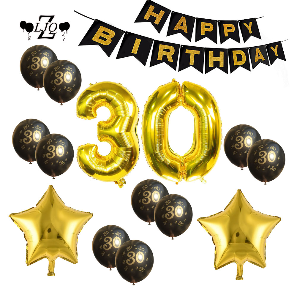 ZLJQ Golden 30th Birthday Party Decoration Kit Happy Birthday Pack Number 30 Foil Balloon 30 Years Old Party Supplies