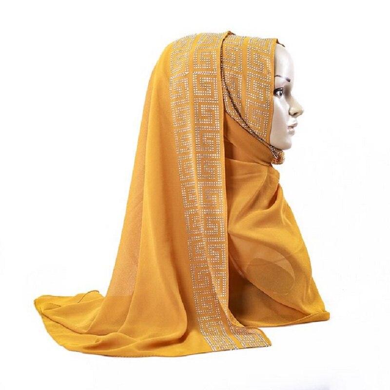 New Chiffon Silk Hijab Scarf Plain Shinny Muslim Ethnic Hijab Hot Stamping Rhinestone Muffler Long Scarf