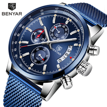 BENYAR 2019 New Men's Watches Top Brand Luxury Watch Men Quartz Watches Chronograph Military Watch Clock Man Relogio Masculino top brand luxury multi 4 time zone japanese movement quartz watch military man leather oulm watches men clock gift relogio
