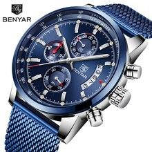ساعات يد جديدة للرجال من BENYAR موديل 2019 ساعة يد فاخرة من علامة تجارية مميزة للرجال ساعات يد بنمط عسكري كرونوجراف للرجال