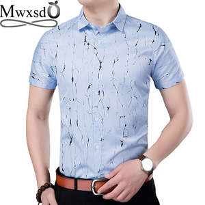 255cdd0852d Mwxsd brand summer men casual printed short sleeve shirts mens soft slim fit  social plaid shirt for male flower sleeve shirt