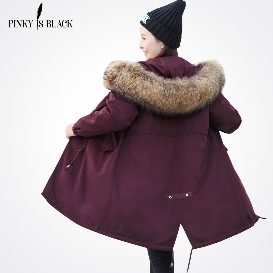 Pinky Is Black 2017 Winter Jacket Women Fur Hooded Long Parkas Coats Cotton Padded Winter Coat Women Jaqueta Feminina Inverno