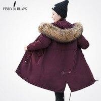 Pinky Is Black 2017 Winter Jacket Women Fur Hooded Long Parkas Coats Cotton Padded Winter Coat
