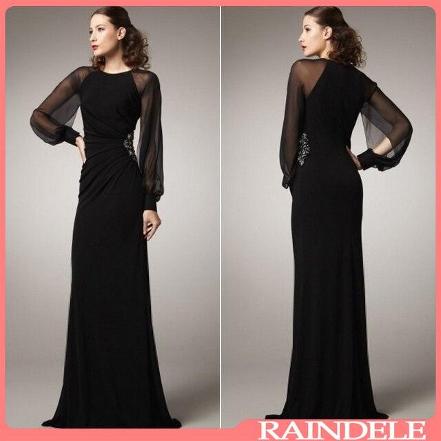 Elegant Fashion Sheath Chiffon Muslim Long Sleeve Maxi Dress Black