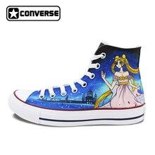Оригинальные Converse All Star Для мужчин женская обувь Сейлор Мун Queen Serenity ручной росписью высокие холщовые Спортивная обувь аниме Косплэй подарки