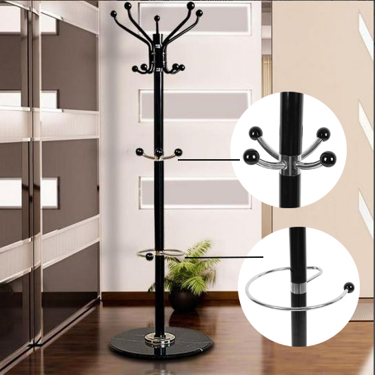 Tree Style Coat Hat Rack 1.7m Metal Coat Hat Jacket Bag Clothes Garment Stand Holder Hanger With Marble Base Clothes Racks HWC